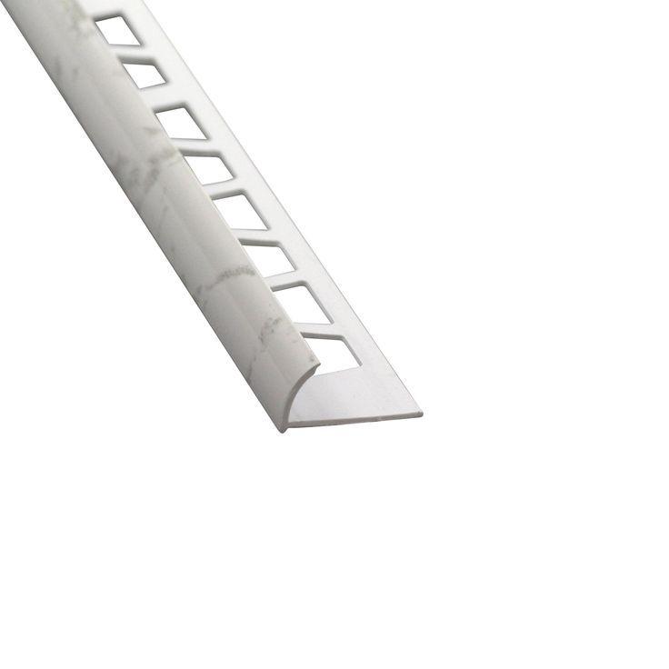 Quart De Rond Mur Marbre Blanc Brillant Pvc Revet Blanc
