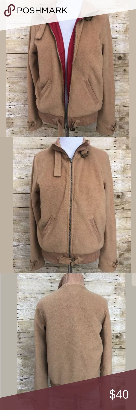"Tommy Jeans Camel Fleece Zip Up Jacket SZ L Comfortable fleece Camel tan colored zip up Moto style coat jacket. Maybe junior sizing as measurements seem small for a Women's large. measures 18"" Bust and 22.5"" length. Excellent condition. Tommy Hilfiger Jackets & Coats"