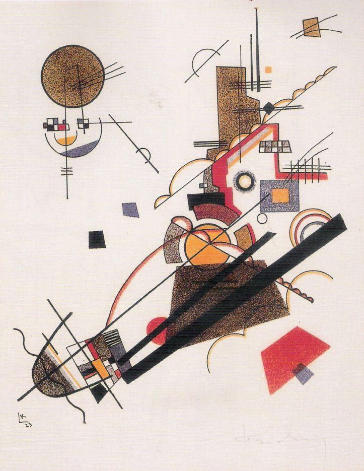 Wassily Kandinsky: alegre ascensión, litografía en color del cartapacio de maestros de la Bauhaus, 1923