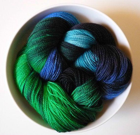 Kelp Forest: 100g hand-dyed laceweight merino superwash. £22.50, via Etsy.