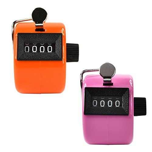 Kubert® 2 Pack Mechanical Hand Tally Counter Handheld Tally Counter with 4 Digit Counter Buddha Numbers Clicker Golf Display for Lap/Sport/Coach/School/Event (Pink &Orange)  //Price: $ & FREE Shipping //     #sports #sport #active #fit #football #soccer #basketball #ball #gametime   #fun #game #games #crowd #fans #play #playing #player #field #green #grass #score   #goal #action #kick #throw #pass #win #winning