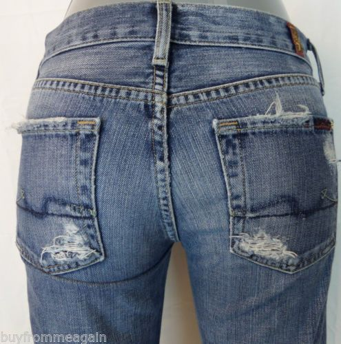 """Seven 7 for All Mankind Woman Blue Jean Pants Flare Distressed 25 27""""x29"""""""