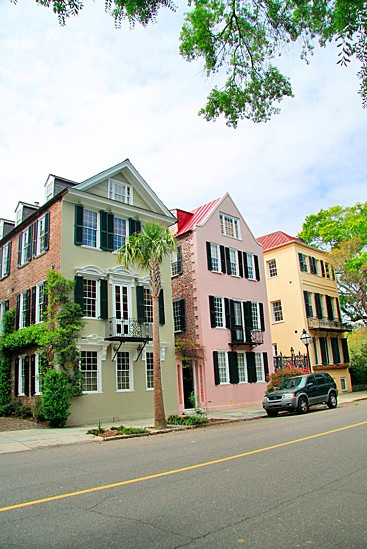 Colorful Charleston row houses