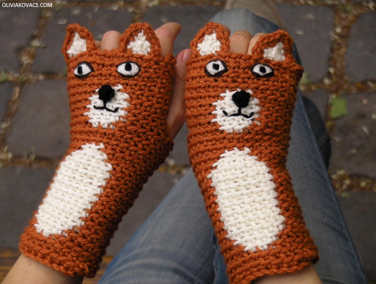 FOX GLOVES FINGERLESS Mittens Animal Foxy Rusty Woodland Forest Hand Warmers Crocheted Autumn Winter Kids Adults Free Shipping Worldwide
