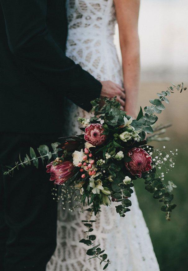 HAYLEY + MARC // #realwedding #flowers #bouquet #natives #gum #rustic #wedding #country #barn #queensland