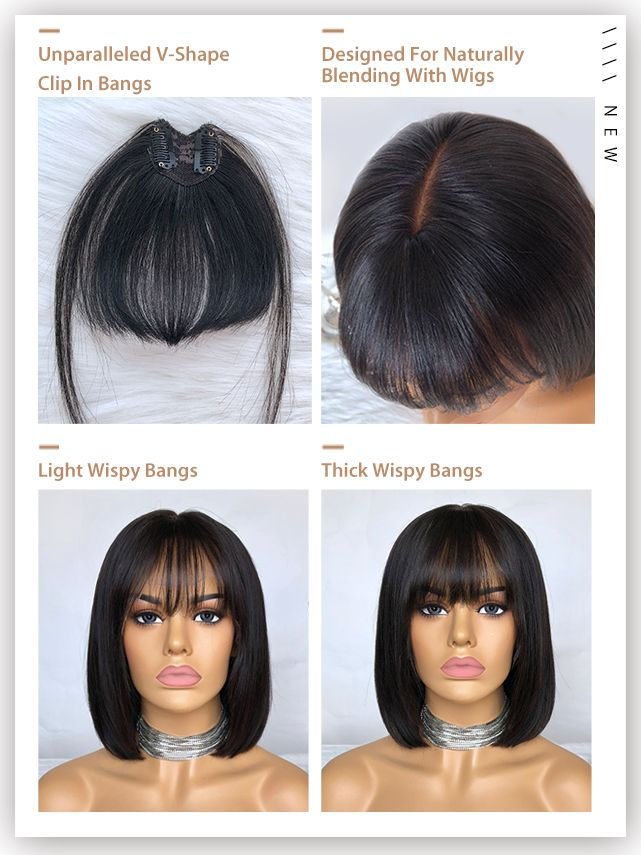 V Shape Clip In Bangs Made For Well Blending With Lace Wigs Order With Your Fav Hair With The Ban Best Human Hair Wigs Wig Hairstyles Short Lace Front Wigs