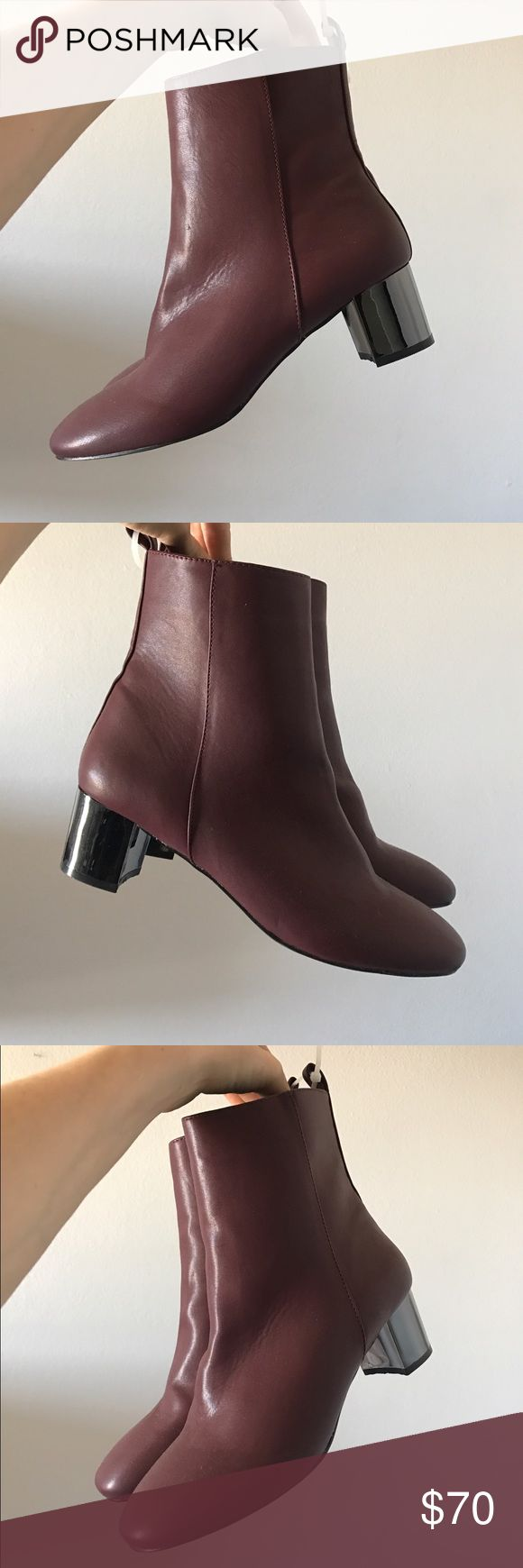 Topshop Mirror Heel Boots These super rad, retro inspired boots have a low mirrored block heel and an awesome design that will look amazing with just about anything! This burgundy colour is surprisingly versatile! Marked Euro size 40, which would be US size 10 but fits a 9 perfect. Brand new never worn! One of their more recent styles. Still has a zip tie attached. Topshop Shoes Ankle Boots & Booties