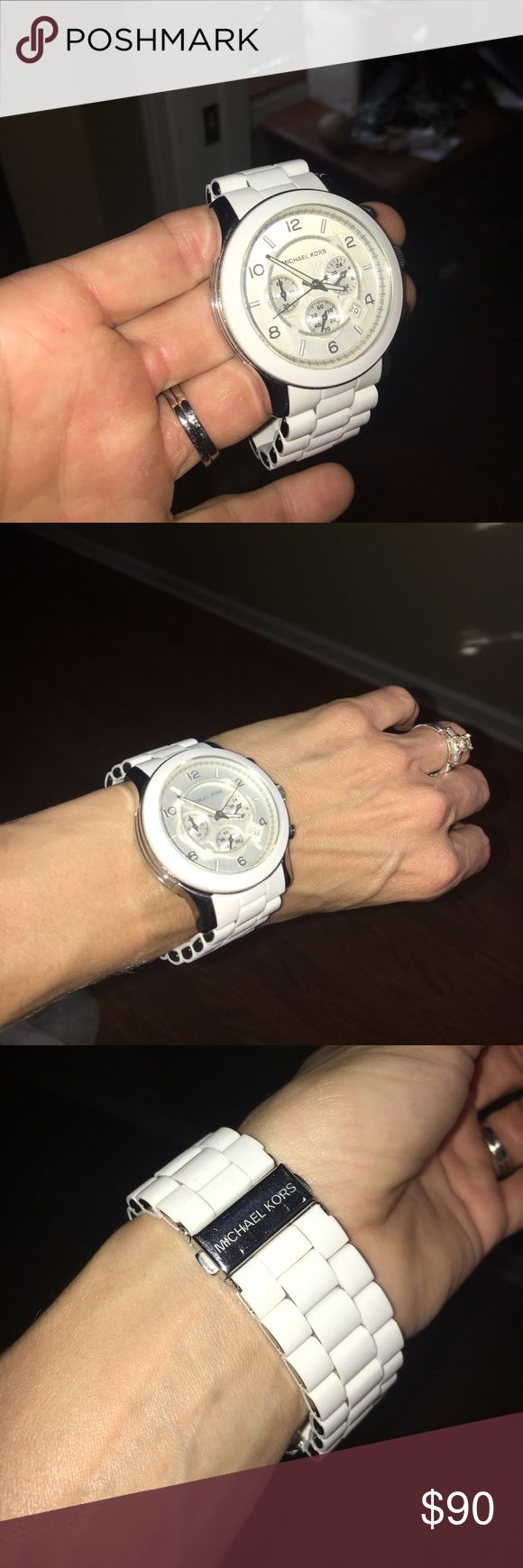 Michael Kors white watch PRICE FIRM Large face Michael Kors white watch MK 8108 like new NO SCRATCHES AT ALL! Just put a new battery in it. Keeps time great😁 Could be worn by a man or woman. Michael Kors Accessories Watches