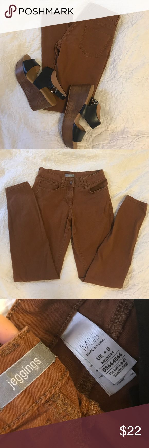 M & S brown jeggings M & S, brown jeggings. So comfortable and flattering on. Downsizing closet or I would keep them. UK size 8, size medium. Excellent condition and only worn a handful of times. Marks & Spencer London Jeans Skinny