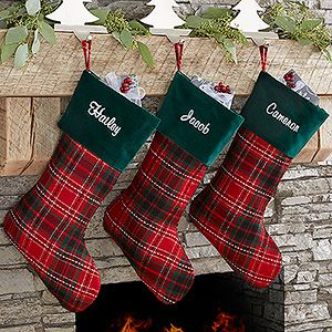 Buy Personalized Plaid Christmas Stockings in festive holiday green and red - Free personalization! See more Personalized Christmas Stockings at PersonalizationMall.com