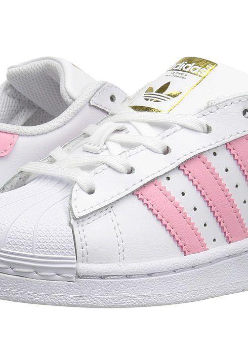 adidas Originals Kids Superstar (Little Kid) (White/Pink) Girls Shoes