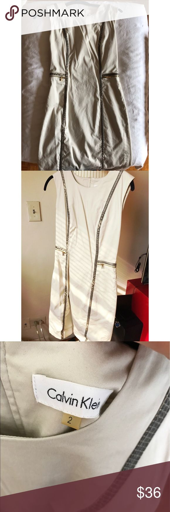 🌟SALe🌟Calvin Klein cream shift dress size 2 Calvin Klein cream shift dress size 2. Excellent condition. Worn only once. Cream shift dress with elegant accents to elongate your silhouette! Calvin Klein Dresses Mini