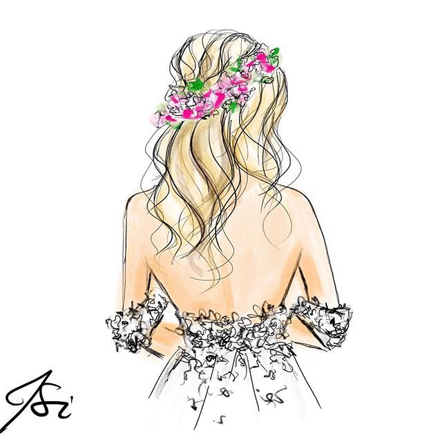 Tag a bride! In honor of #bridalfashionweek inspired by @brides #fashion #friday #fashionillustration #illustration #melsysillustrations #melsys #hair #flowers #florals #bridal #bridalillustration #bostonillustrator #bostonblogger #boston