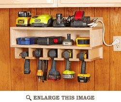 DIY Cordless Tool Station, great way to organize and store tools and their batteries. For Dad.