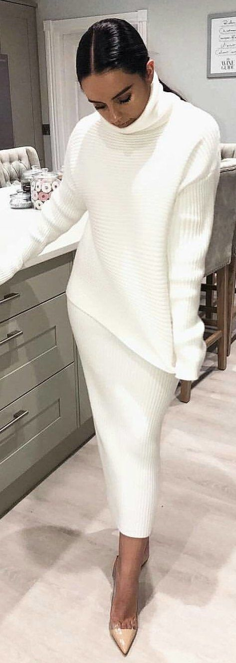 #winter #outfits  white knit sweater and skirt