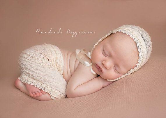 Newborn VAYDA  peach ruffle lace skirt bonnet by JazzCraftBoutique