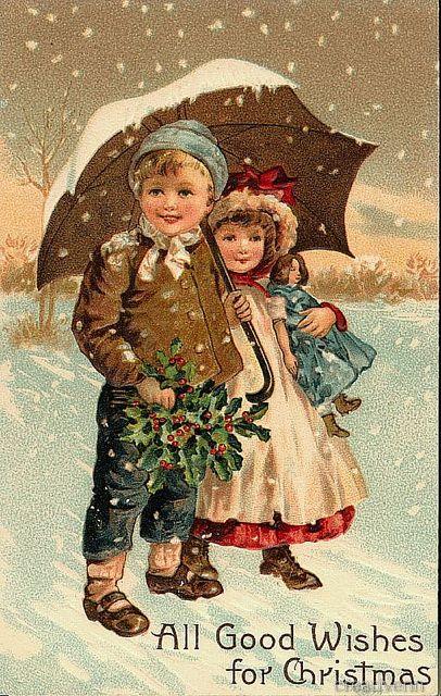 Рождественские и новогодние старинные открытки с изображением детей. Часть 2.