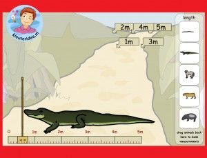 Hoe lang zijn de dieren, meten met kleuters op het digibord, kleuteridee