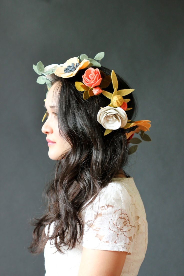 How to make DIY Felt Flowers Wire Crown