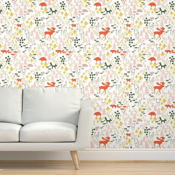 Woodland Wallpaper Whimsical Woodland In White By Etsy Woodland Wallpaper Wallpaper Textured Walls