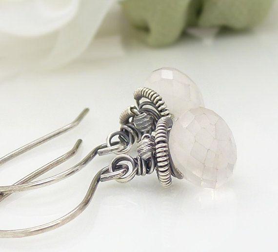 Pink rose quartz earrings Oxidized sterling by CreativityJewellery, $40.00