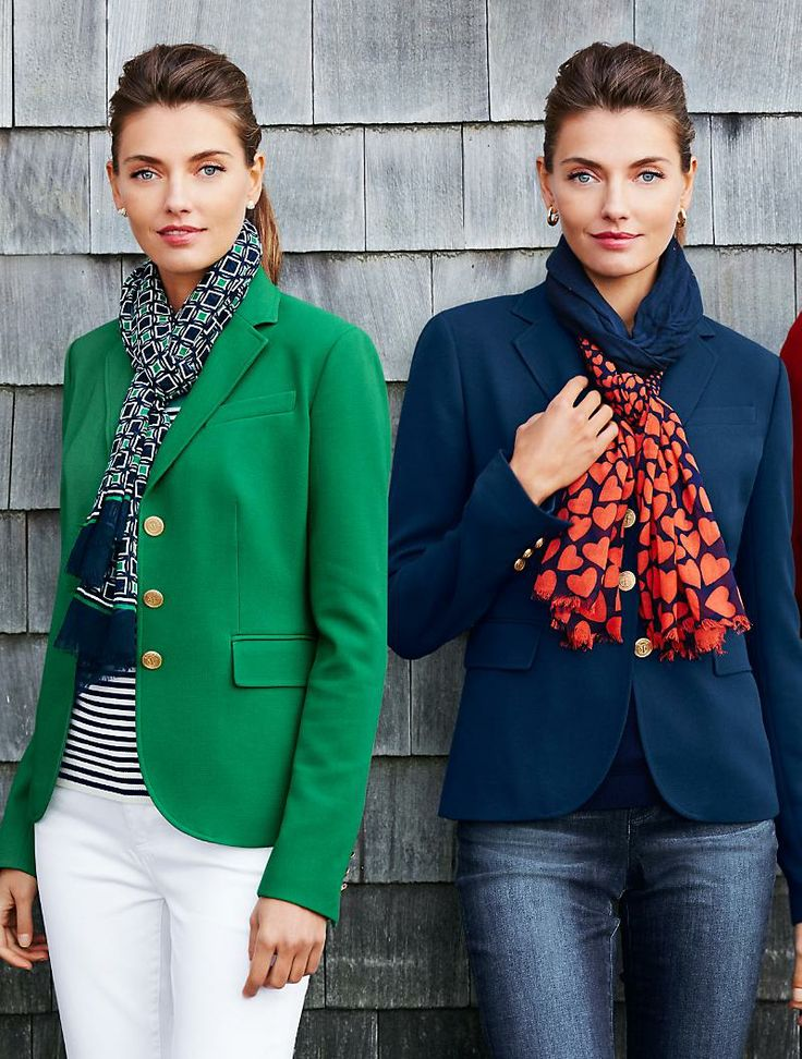 Talbots - Gold-Button Jacket with jeans and bright scarf