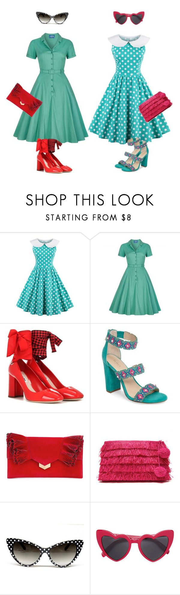 """""""Бирюза"""" by repriza ❤ liked on Polyvore featuring Collectif, Miu Miu, Botkier, Jimmy Choo, Mar y Sol and Yves Saint Laurent"""