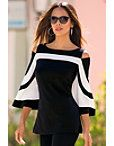 Travel Colorblock Cold-shoulder Top Photo