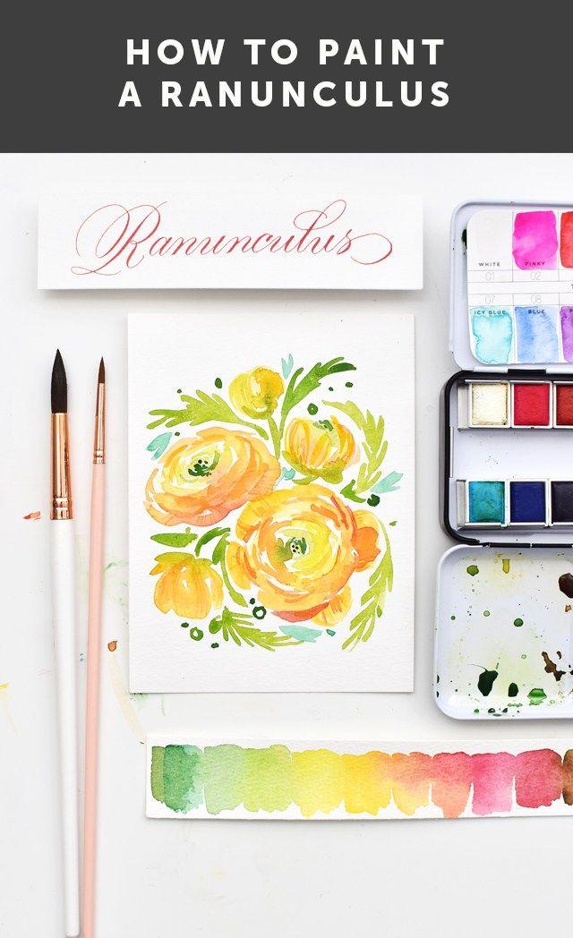 How To Paint Ranunculus Watercolor Ranunculus Painting