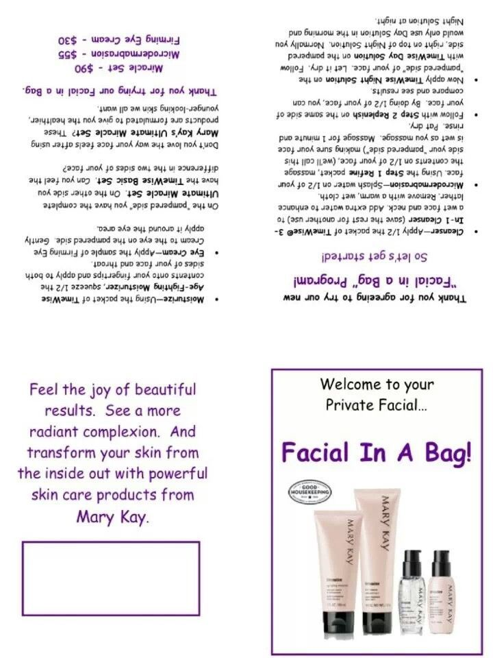 Mary Kay Facial Bag Signs - Bing Images