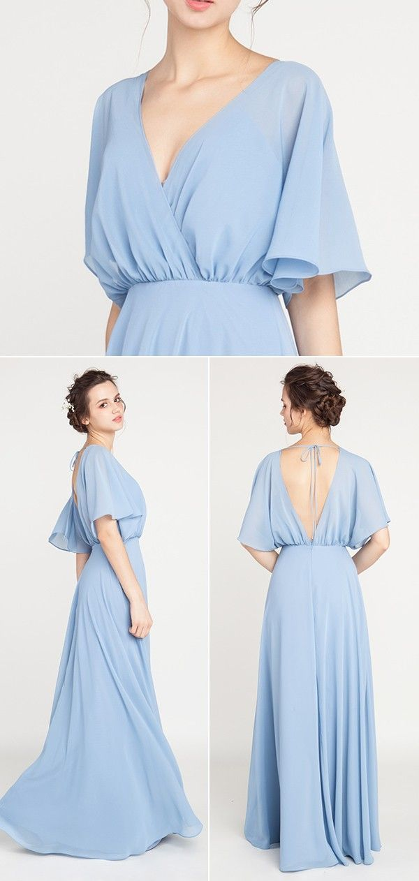 V-Neck Sleeved Long Bridesmaid Dress with Open Back TBQP385