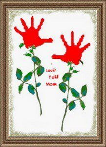 Affordable Valentine Flowers - kids hands dipped in red paint. Makes a cute gift for moms.