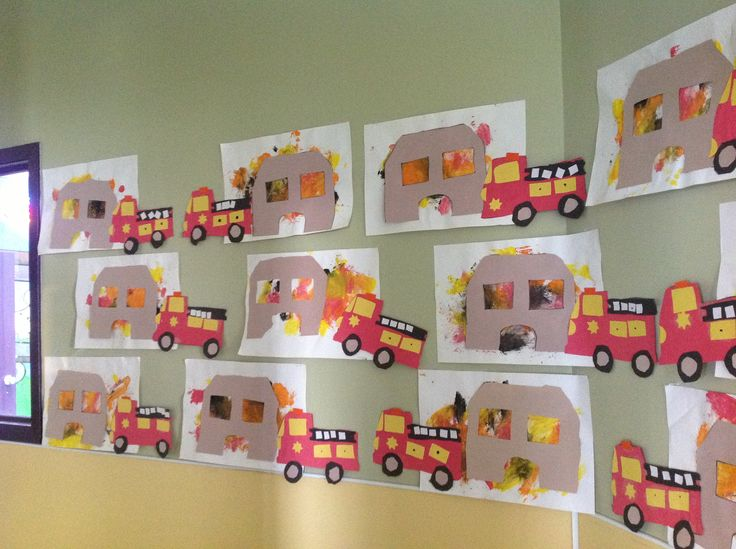 Day 2: Paint with red, yellow, orange cover white paper.  Then glue house on top of paint.  Put the shape fire truck at the bottom like its going to fight the fire!