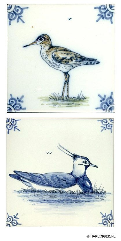 example of handpainted tiles - Waddenserie - Harlinger Aardewerk & Tegelfabriek