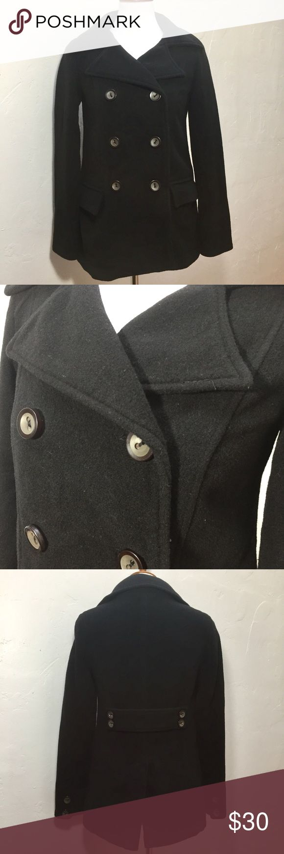 "Old Navy Black Wool Blend Double Breasted Pea Coat Old Navy Black Wool Blend Double Breasted Pea Coat  This coat is in good condition. Double breasted with 2 pockets on the front.  Approximate measurements: Total length - 26 3/4"" Armpit to armpit - 17 1/4"" Sleeve length - 23 1/2""  ⭐️bundle with other items to make the most of shipping⭐️  JB1084 Old Navy Jackets & Coats Pea Coats"