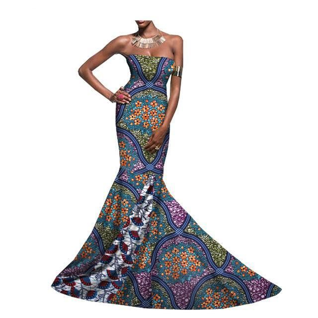 African dashiki maxi dress, African print occasion dress, African prom – Owame