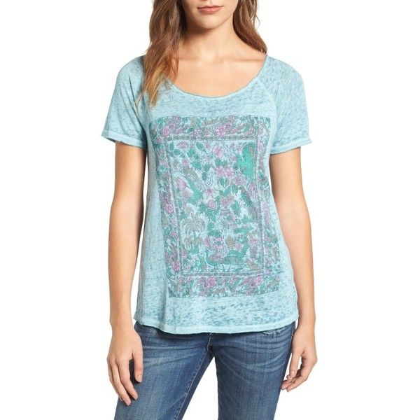 Women's Lucky Brand Floral Gardens Tee ($40) ❤ liked on Polyvore featuring tops, t-shirts, nile blue, floral tee, pattern t shirt, floral print tops, raglan sleeve t shirt and lucky brand tees