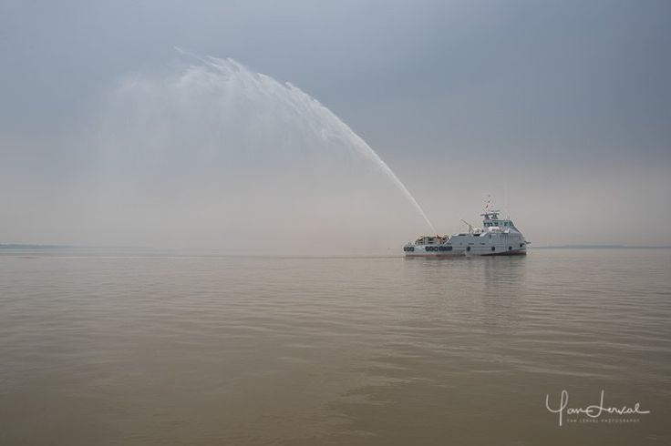 Yesterday was a strange day when shooting new #FPSV #ship from #French #Shipbuilders #Piriou during sea trials. Strange water, strange weather, strange boat....but some nice #light coming out when testing the Fifi water spray. #photography #assignment #vietnam #Saigon #river #mekong