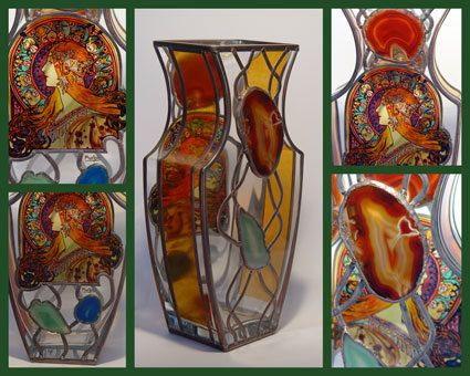 """13.5"""" x 5"""" (343 mm x 127 mm) Massive, glass, bright, hand-painted decorative vase, product of Czech glass factories. Precise copy of Mucha's artwork."""