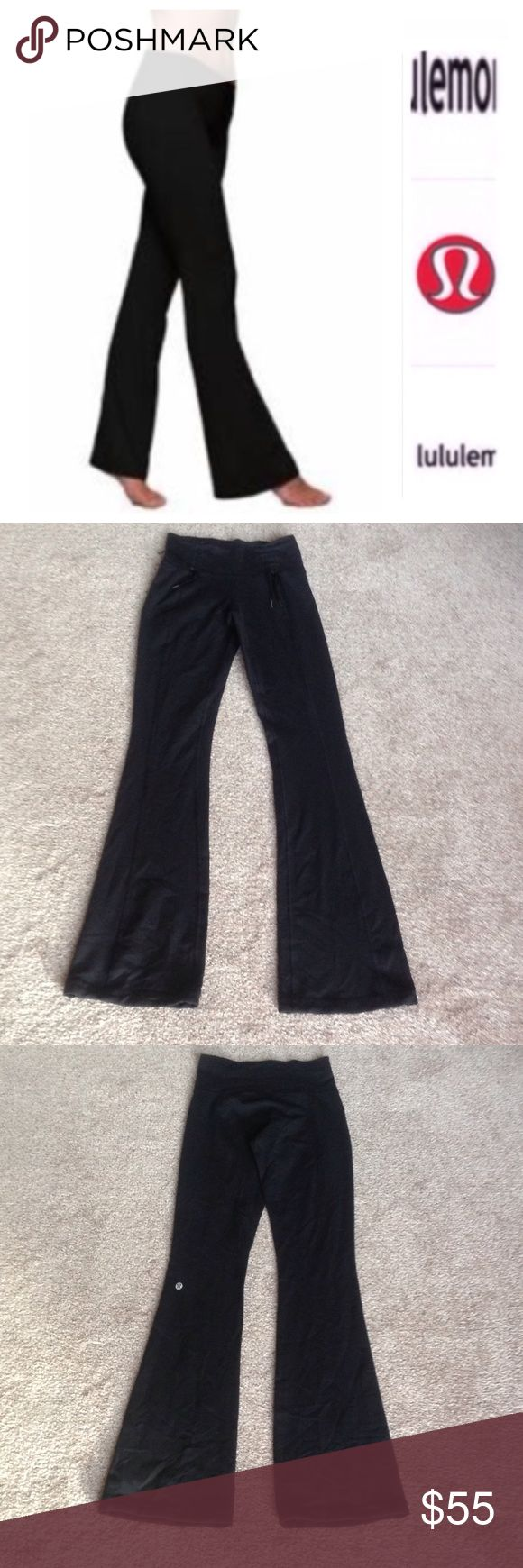 "Lululemon black flare leggings tall In like new condition. Probably worn just 3 times. There is a string on the end of the pants to gather as an option, please see 3rd photo. Inseam is 33"" long. lululemon athletica Pants Boot Cut & Flare"