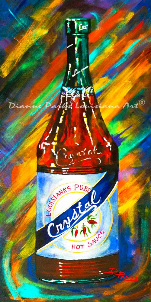 Awesome Sauce! Crystal! New Orleans Art Print, Crystal Hot Sauce, Louisiana Hot Sauces, New Orleans Food, New Orleans Artist, Dianne Parks