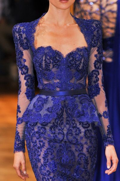 Royal blue Zuhair Murad Peplum Lace gown! Inshallah I'll find a replica of this gown bc I can't afford the real one.