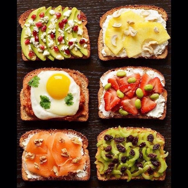 1. Авокадо + фета + гранат + оливковое масло 2. Ананас + творог + кешью 3. Тушеная фасоль + жареное яйцо + зелень 4. Мягкий сыр + клубника + бальзамический уксус + морская соль 5. Фета + семга + грецкий орех 6. Сельдерей + изюм + арахисовое масло