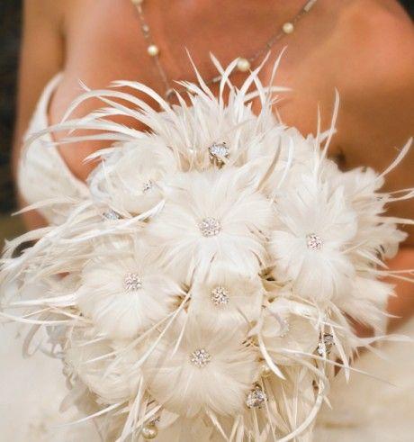 Bouquet de mariée plume blanc