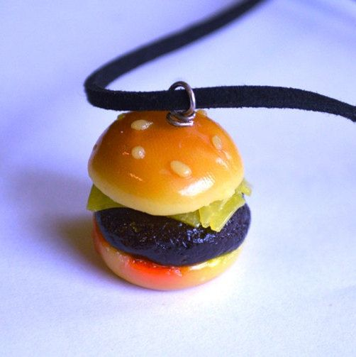 Cheeseburger polymer clay necklace by ASweetScaleWorld on Etsy