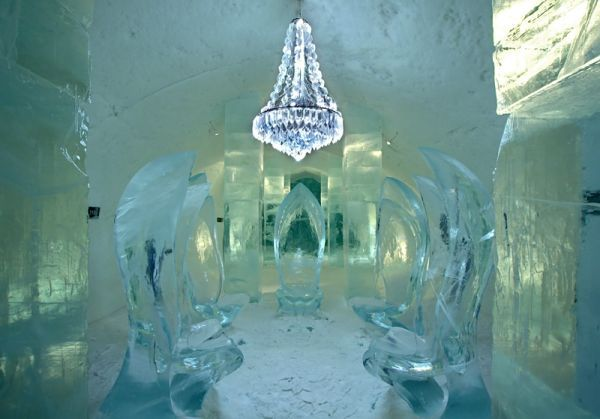 The ICEHOTEL, located in the village of Jukkasjärvi, about 17 km from Kiruna, Sweden, rebirths each year from December to April and is the world's first ice hotel.