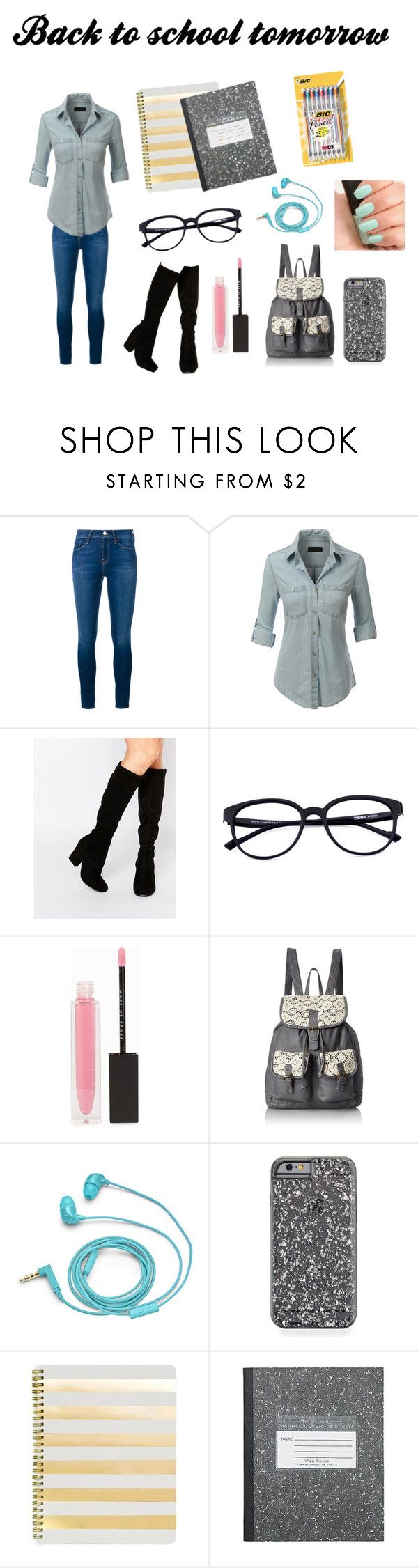 """""""Spring Break is over :-("""" by banana4563210 ❤ liked on Polyvore featuring Frame Denim, LE3NO, Faith, MAKE UP STORE, T-shirt & Jeans, FOSSIL, NARS Cosmetics, Sugar Paper and BIC"""