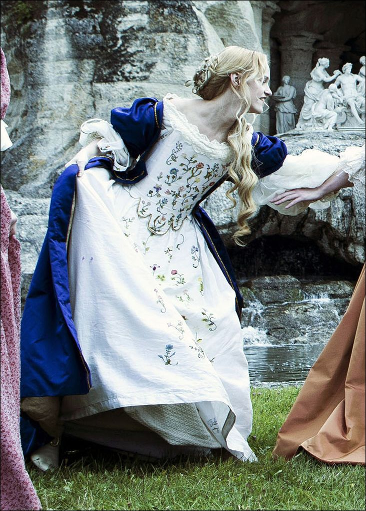 This gown was first seen in the 2014 mini-seires The Great Fire, where it was worn on Sonya Cassidy as Catherine of Braganza. It was used again in 2015 on Sonia Gleis as a 'nymph' in the television...