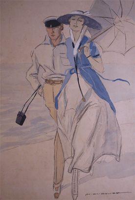 Marcello Dudovich - 1915 - Sulla  spiaggia - studio per la realizzazione di calendario Fiat, cartolina postale e illustrazione di Simplicissimus