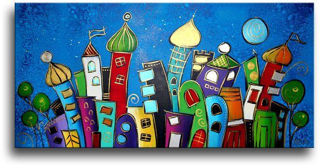 Dit canvasschilderij valt niet alleen op door de vele mooie kleuren maar ook door de aparte fantasievormen.